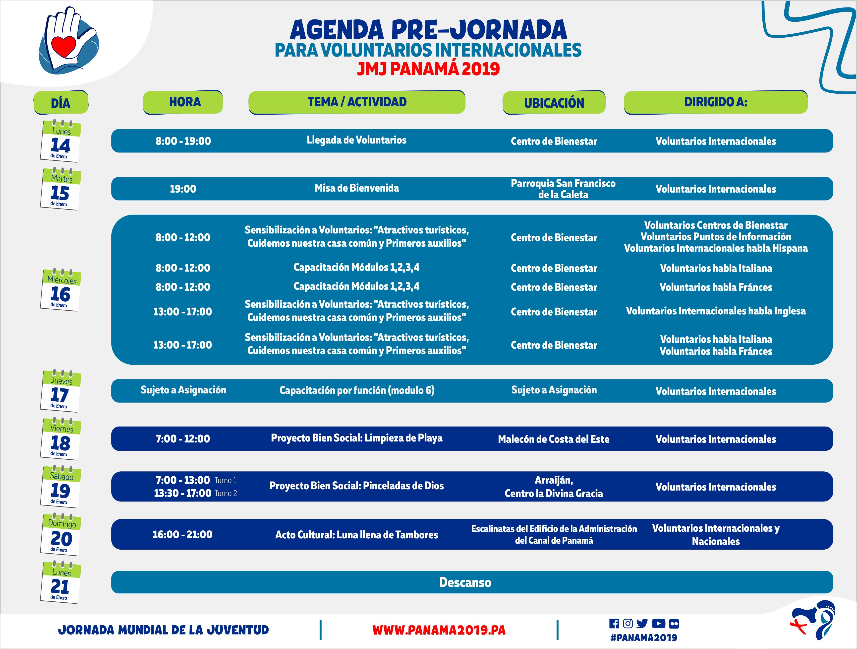 Agenda Pre-Jornada final